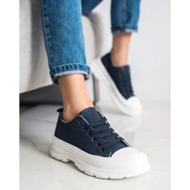 SHELOVET Navy Blue Sneakers On The Platform 1