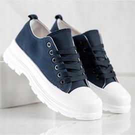 SHELOVET Navy Blue Sneakers On The Platform 3