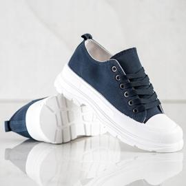 SHELOVET Navy Blue Sneakers On The Platform 4