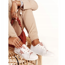 Women's Leather Sneakers With a Star Big Star DD274691 White-Pink 6