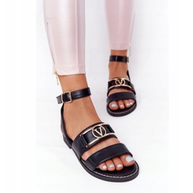 PS1 On Time Black Flat Leather Sandals 4