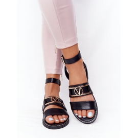 PS1 On Time Black Flat Leather Sandals 3