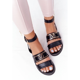 PS1 On Time Black Flat Leather Sandals 1