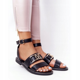 PS1 On Time Black Flat Leather Sandals 2