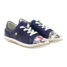 Dark blue children's shoes with flowers Bartek 85524 white multicolored 4