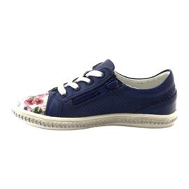 Dark blue children's shoes with flowers Bartek 85524 white multicolored 2