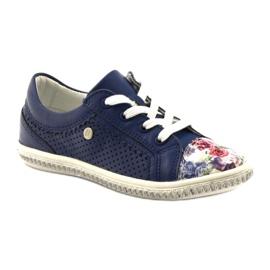 Dark blue children's shoes with flowers Bartek 85524 white multicolored 1