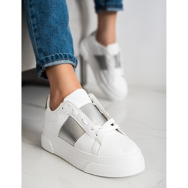 SHELOVET Sneakers With Eco Leather On The Platform white 4