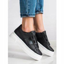 SHELOVET Sneakers With Eco Leather On The Platform black 1