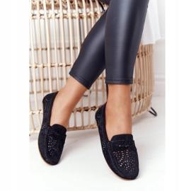 S.Barski Women's Suede Openwork Loafers from S. Bararski Black 3