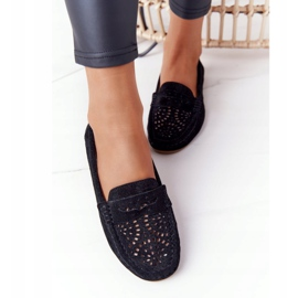 S.Barski Women's Suede Openwork Loafers from S. Bararski Black 1