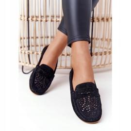 S.Barski Women's Suede Openwork Loafers from S. Bararski Black 4