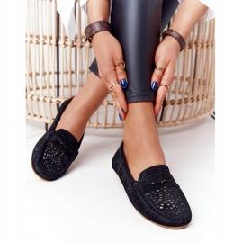 S.Barski Women's Suede Openwork Loafers from S. Bararski Black 5