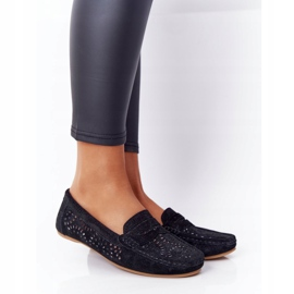 S.Barski Women's Suede Openwork Loafers from S. Bararski Black 2