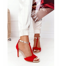 S.Barski Sandals On Szpilce S. Bararski 280-58 Red-Gold golden 2
