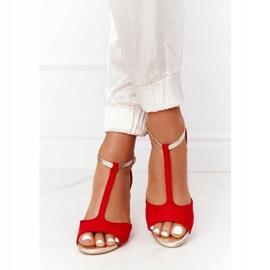 S.Barski Sandals On Szpilce S. Bararski 280-58 Red-Gold golden 5