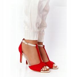 S.Barski Sandals On Szpilce S. Bararski 280-58 Red-Gold golden 1