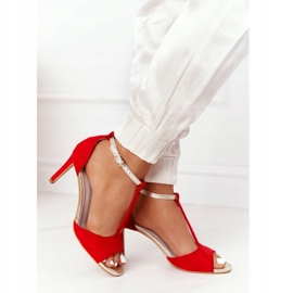 S.Barski Sandals On Szpilce S. Bararski 280-58 Red-Gold golden 4
