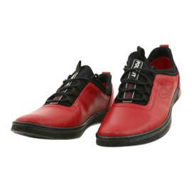 Polbut Red men's leather casual shoes K24 with black underside 1