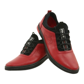 Polbut Red men's leather casual shoes K24 with black underside 12
