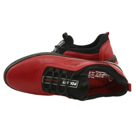 Polbut Red men's leather casual shoes K24 with black underside 14