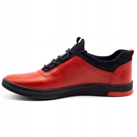 Polbut Red men's leather casual shoes K24 with black underside 3