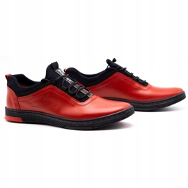 Polbut Red men's leather casual shoes K24 with black underside 4