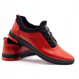 Polbut Red men's leather casual shoes K24 with black underside 7