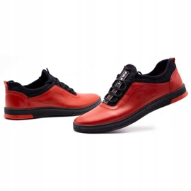 Polbut Red men's leather casual shoes K24 with black underside 9