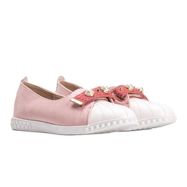Pink loafers with Deanna pearls 1