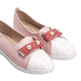 Pink loafers with Deanna pearls 2