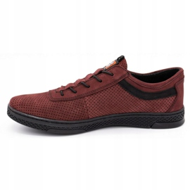 Polbut Men's leather casual shoes K23P burgundy red 1