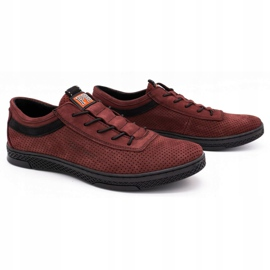 Polbut Men's leather casual shoes K23P burgundy red 2