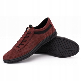 Polbut Men's leather casual shoes K23P burgundy red 3