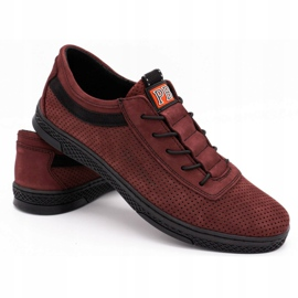 Polbut Men's leather casual shoes K23P burgundy red 4