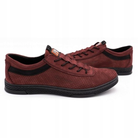 Polbut Men's leather casual shoes K23P burgundy red 5
