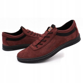 Polbut Men's leather casual shoes K23P burgundy red 6