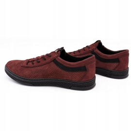 Polbut Men's leather casual shoes K23P burgundy red 7