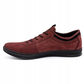 Polbut Men's leather casual shoes K23 burgundy red 1