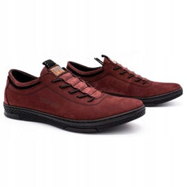 Polbut Men's leather casual shoes K23 burgundy red 2