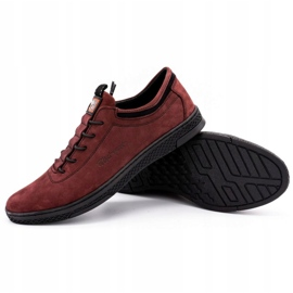 Polbut Men's leather casual shoes K23 burgundy red 3
