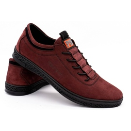 Polbut Men's leather casual shoes K23 burgundy red 4