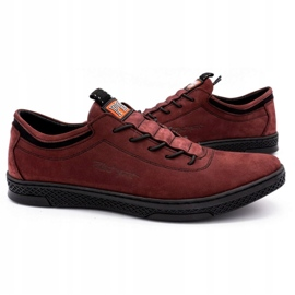 Polbut Men's leather casual shoes K23 burgundy red 5