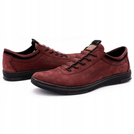 Polbut Men's leather casual shoes K23 burgundy red 6