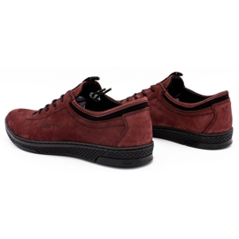 Polbut Men's leather casual shoes K23 burgundy red 7