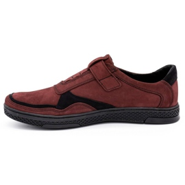Polbut Men's casual leather shoes 2102 claret red 1