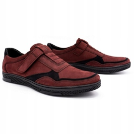 Polbut Men's casual leather shoes 2102 claret red 2