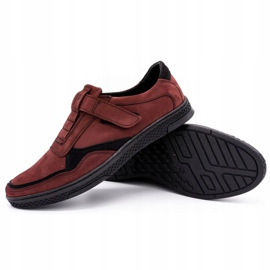 Polbut Men's casual leather shoes 2102 claret red 3