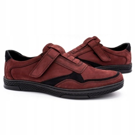 Polbut Men's casual leather shoes 2102 claret red 5