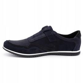 Polbut Men's casual leather shoes 2102/2 navy blue 2